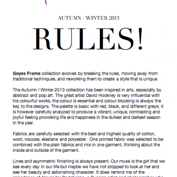 Collection A/W 2013 – press release