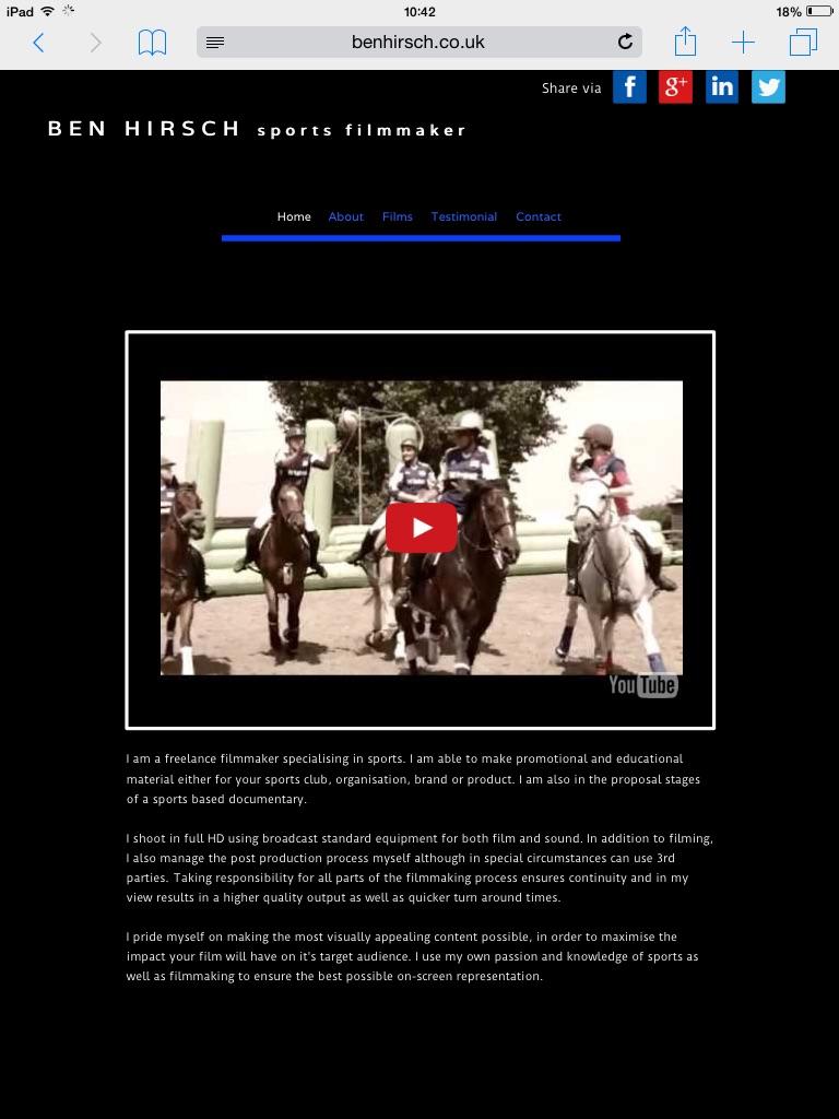 Website for filmmaker Ben Hirsch